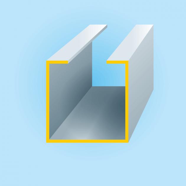 C-Profil aus Edelstahl, Stärke 1,5 mm