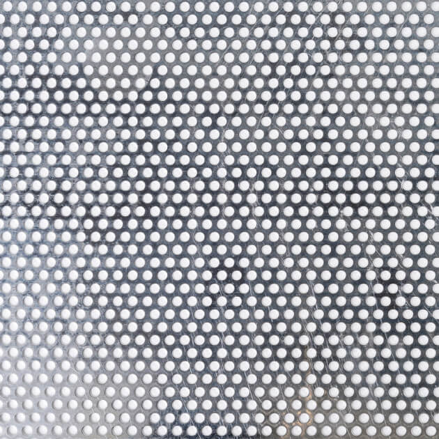 Blechzuschnitt aus Lochblech, Aluminium, Stärke 1,0 mm, Rundloch 5 mm