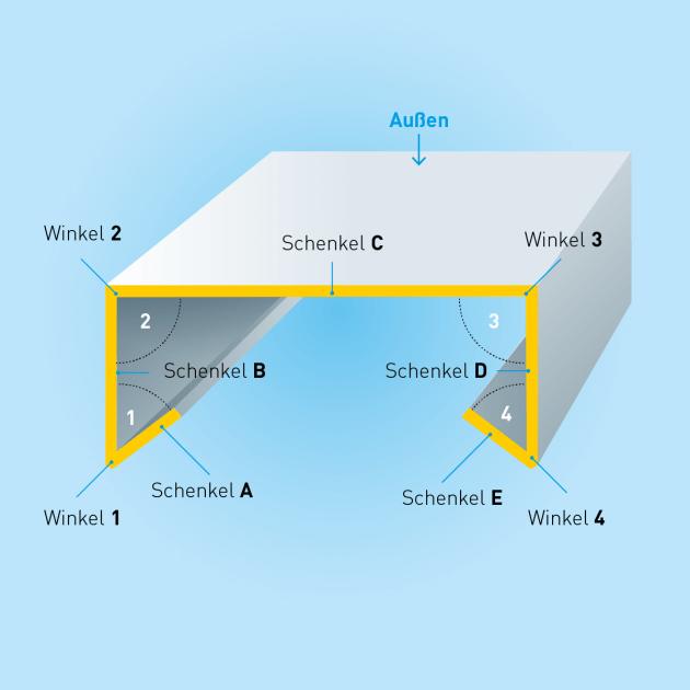 U-Profil mit Tropfkante, Stahl, Stärke 1,5 mm, Rundloch 5 mm