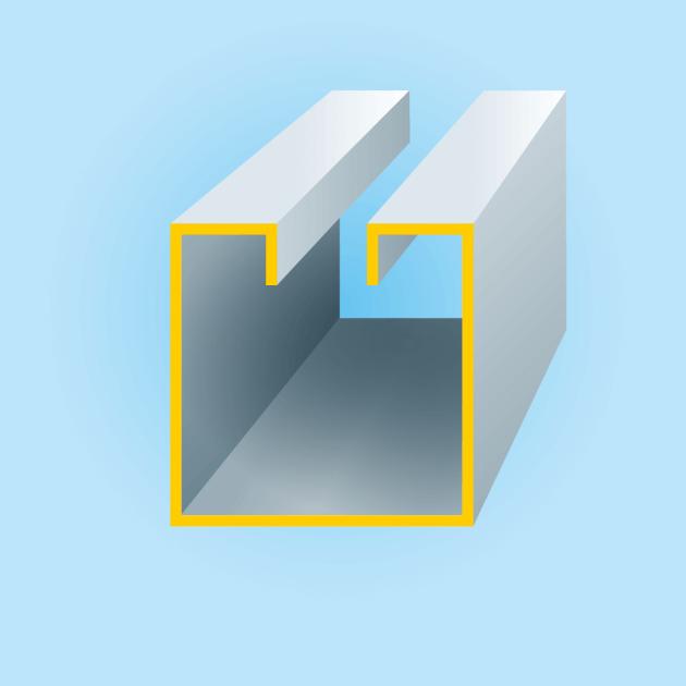 C-Profil mit Rückkantung, Stahl, Stärke 1,00 mm