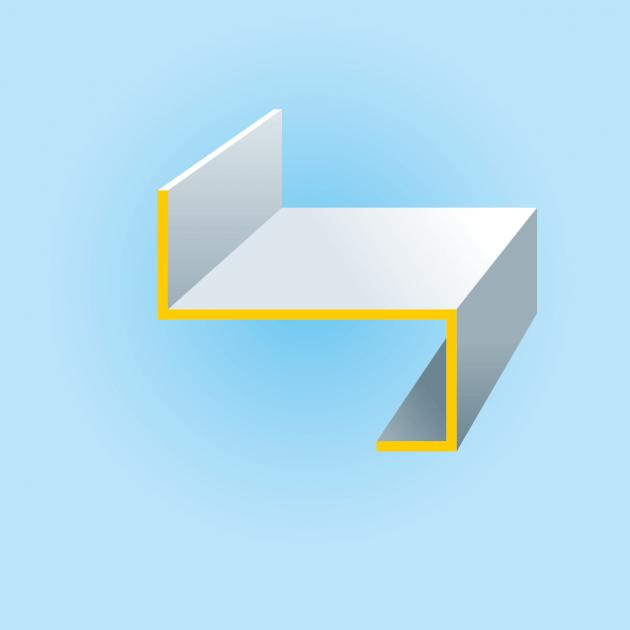 Z-Profil mit Rückkantung aus Aluminium, Stärke 2,0 mm