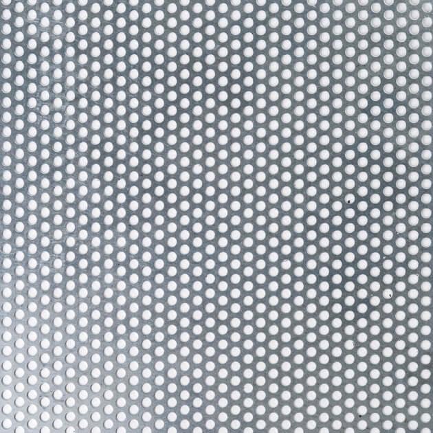 Blechzuschnitt aus Lochblech, Stahl verzinkt, Stärke 0,75 mm, Rundloch 5 mm