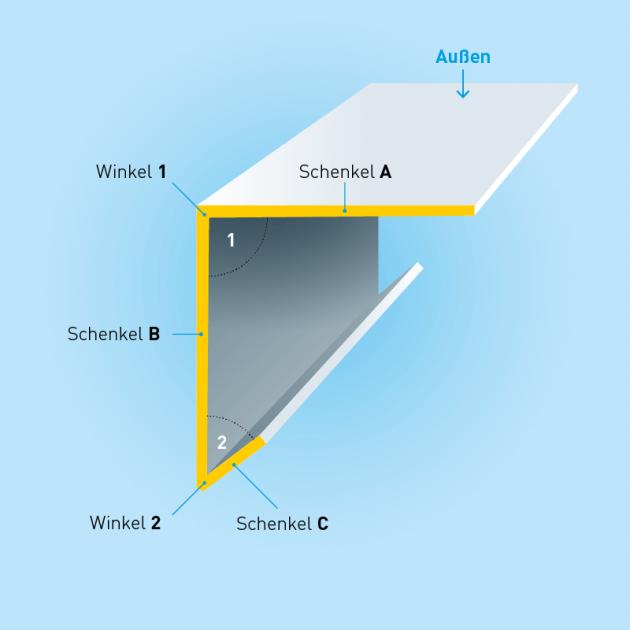 L-Profil mit Tropfkante aus Stahl verzinkt, Stärke 1,5 mm