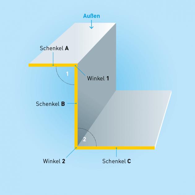 Z-Profil aus Blech, Stahl, Stärke 1,50 mm