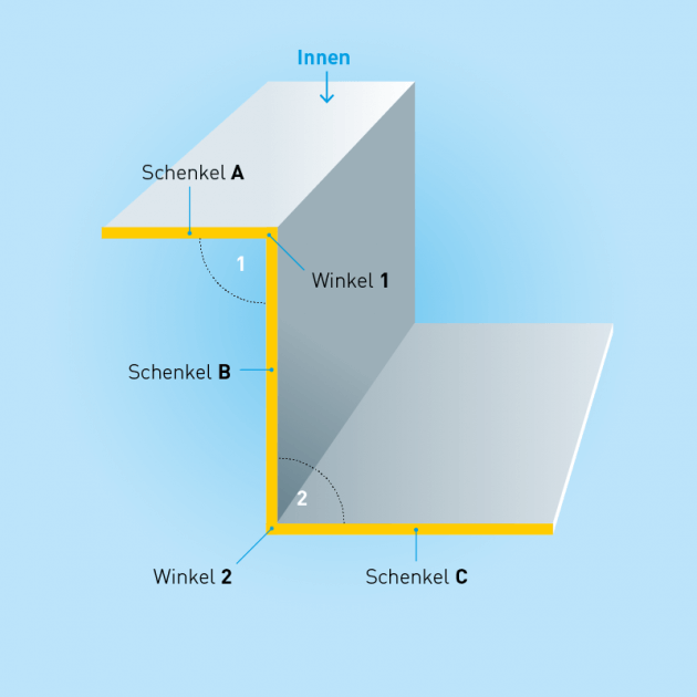 Z-Profil aus Edelstahl, Stärke 0,5 mm