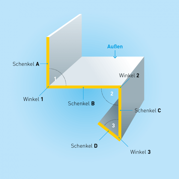 Z-Profil mit Tropfkante aus Edelstahl foliert, Stärke 0,8 mm