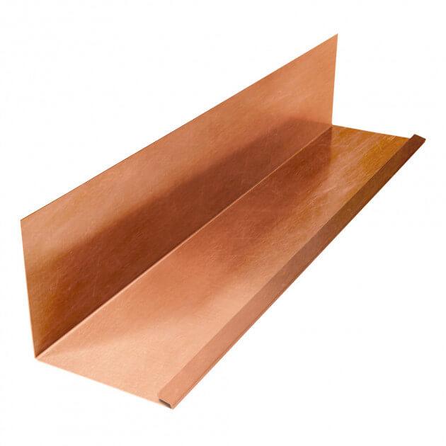 Wandanschlußblech mit 1 Falz aus Kupfer