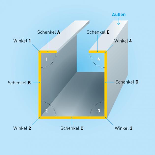 C-Profil aus Aluminium, Stärke 1,0 mm, einseitig foliert
