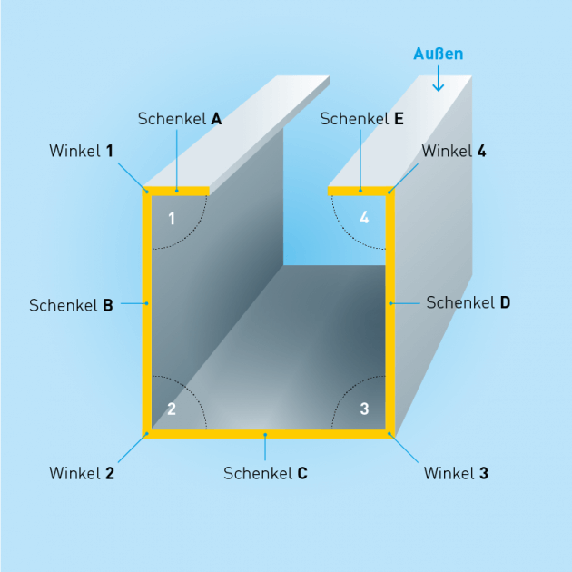 C-Profil, Stahl, Stärke 1,0 mm