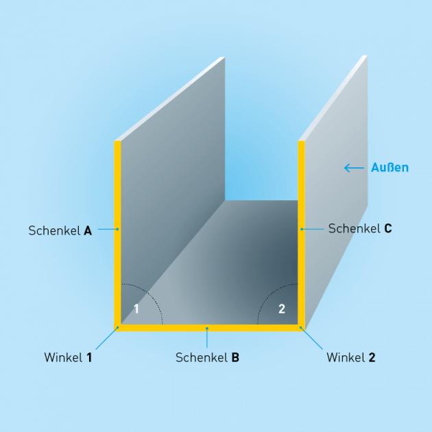 U-Profil aus Aluminium, Stärke 1,0 mm, Rundloch 5 mm