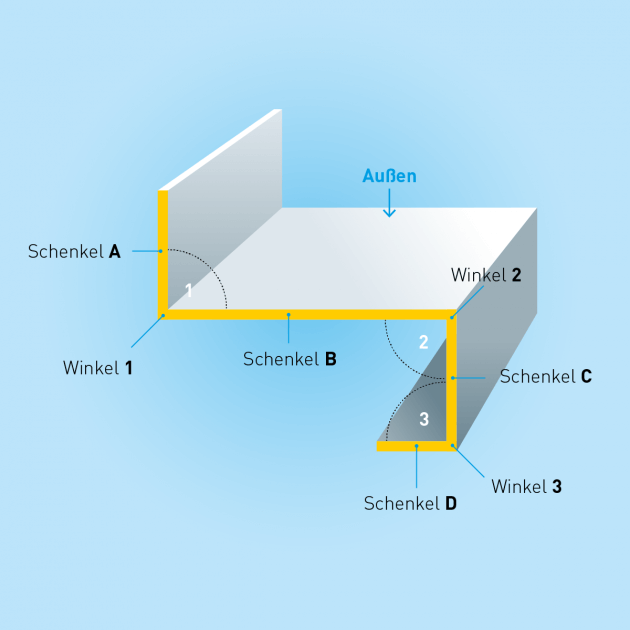 Z-Profil mit Rückkantung aus Edelstahl, Stärke 1,0 mm