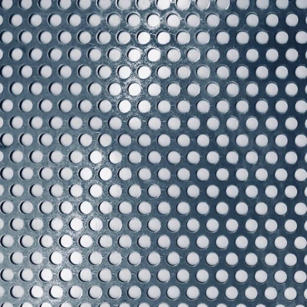 Blechzuschnitt aus Lochblech Stahl, Stärke 1,00 mm, Rundloch 10 mm